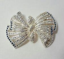 Napier Brooch - Ribbon Bow - Silver Blue White Stone Pin _ Cyber Monday Deals
