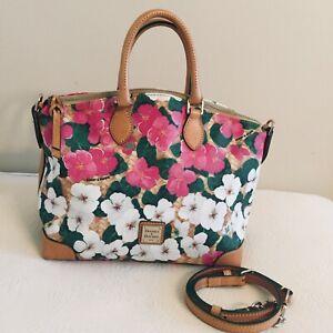 Auth. DOONEY & BOURKE Floral Leather Domed Satchel Tote Handbag $328