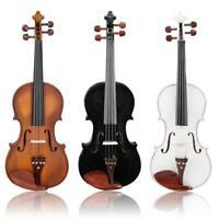 Glarry 4/4 Solid Wood Violin Set W/ Case+Bow+Rosin+Shoulder Rest+Cloth+Tuner