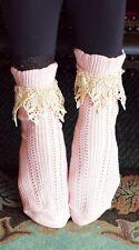 Victorian Trading Co Lavish Lace Ankle Socks Pink/Ivory Free Ship NIB