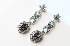 Sterling Silver Vintage Style Marcasite Dangle Earrings With Garnet Stones