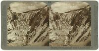 Yellowstone ~ DOWN RIVER & CANYON FROM BRINK OF LOWER FALLS ~ Stereoview uus58