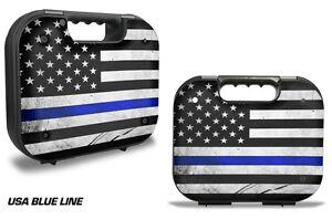 Skin Decal Wrap for Glock 19 21 22 43 Pistol Gun Hard Case BLM Police BLUE LINE