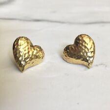 Vintage Heart Earrings Hammered Gold Tone Metal