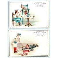 c1880s LOT of 2 Camden, NJ Shaw Piano Trade Cards Children Tea Litho Fashion C7