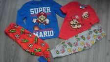 2x BUNDLE SUPER MARIO BOY PYJAMAS SET LONG SLEEVE TOP BOTTOM 3/4 YRS nr3