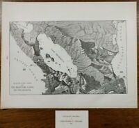 """NICARAGUA CANAL 1901 Vintage Atlas Map 14""""x11"""" ~ Old Antique BIRDS EYE VIEW"""