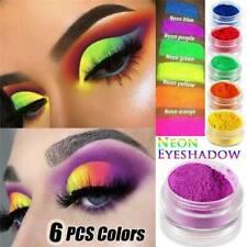 6 Colors Neon Nail Art Pigment Powder-Glitter Eyeshadow Cosmetic Makeup Tool Set