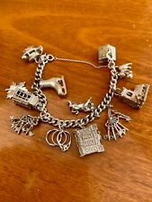 Vintage Silver Charm Bracelet with 12 Charms - 2.4oz