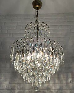 Antique Vintage Brass & Crystals Waterfall Chandelier Lighting Ceiling Lamp