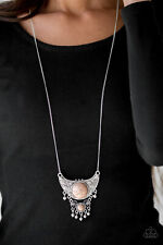 Paparazzi large silver crescent brown stones Necklace w/ Earring