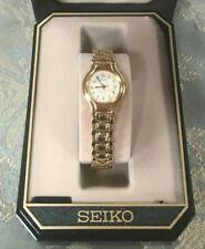 Vintage Ladies Round Face Gold Tone Seiko Quartz Dress Watch New in Box
