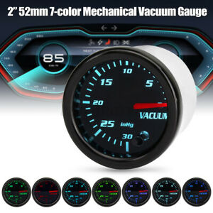"2"" 52mm Tinted 7 Color Mechanical Vacuum Gauge Car Meter with Hose Kit 12V USA"
