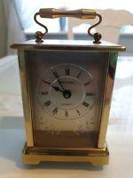 Vintage Metamec Quartz Brass Carriage Mantle Clock Made in England
