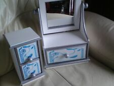Shabby Chic Dressing Table Mirror Vanity Makeup Drawers Dresser Set USED,