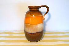 Large Scheurich Keramik Jug Handled Vase 484 -27 Banded Earth Tone Gloss Glaze