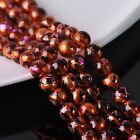 30pcs 10mm Plated&Painted Round Crystal Glass Loose Spacer Beads Rose&Gold