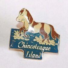 Brooch Lapel Pin - Chincoteague Island - Pony - Enamel - Gold Tone