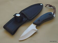 BLACK SMALL FIXED BLADE HUNTING SKINNING KNIFE WOOD HANDLE FULL TANG WITH SHEATH