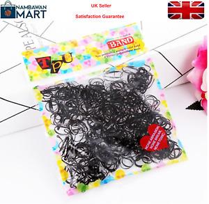 250 x BLACK Elastic Bands Poly Rubber Hair   Bobbles Cornrow Braiding UK  AC1042