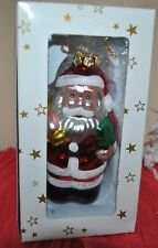 "NEW Merry Christmas SANTA CLAUS GLASS Blown Ornament 5"" Glitter BOX"