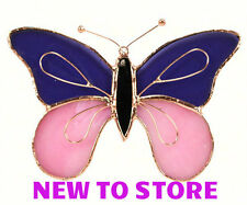 Stained Glass Sun catcher - Purple & Pink Butterfly Sun Catcher - Ge161