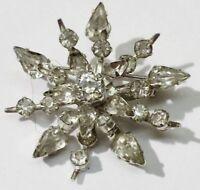 belle broche bijou vintage flocon étoile couleur argent cristal diamant *3727