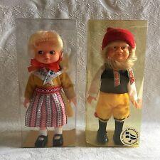 2pcs Vintage Swedish Dolls Dalarna Original Handicraft 1960 New in Box