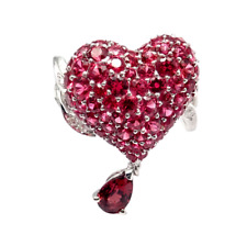 Christian Dior Cupidon 18k White Gold Diamond Ruby Red Spinel Heart Ring