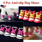 4 Pcs Pet Dog Boots Puppy Denim Sports Anti-slip Shoes Sneakers for Small Dogs