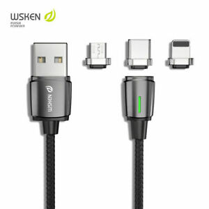 WSKEN Mini 3 Magnetic Micro Type-C Charge Cable For iPhone 12 11 Samsung Android