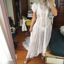 1930s Wedding Dress Gown Petite XS Train Scallop Detail White Chiffon