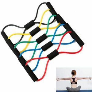 Yoga Fitness Chest Expander Rope 8 Word Elastic Rubber Resistance Exercise Bands