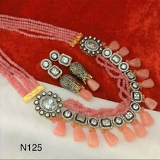 Indian Bollywood Red Green Choker CZ AD Gold Bridal Necklace Set Fashion Jewelry