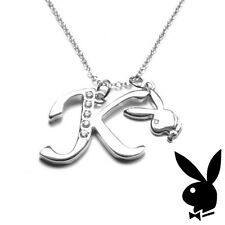 Playboy Necklace Initial Letter K Pendant Bunny Charm Crystals Platinum Plated