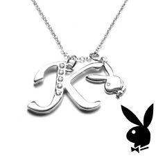 Playboy Necklace Letter K Pendant Bunny Charm Swarovski Crystal Silver Chain Box