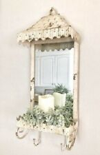 Vintage Farmhouse Hanging Shelf with Mirror Distressed Metal with Hooks & Shelf