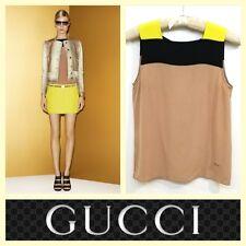 Gucci $725 mauve color block loose fit silk top~38/XS