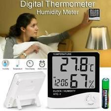 Digital Humidity Meter Thermometer Indoor LCD Hygrometer Temperature Alarm Clock