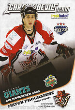 CARDIFF DEVILS v BELFAST GIANTS (Elite Ice Hockey League 8.11.2009) Programme