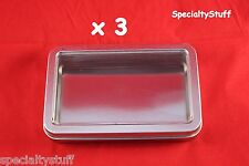 3 NEW EMPTY BLANK METAL TIN W/ CLEAR HINGED LID RECTANGULAR 7OZ CONTAINER S