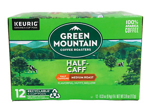 Green Mountain Half Caff Coffee Keurig Hot K Cup Cups 12 ct 3.9 oz