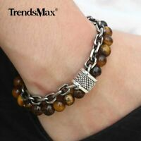 14mm Two Layers Mens Natural Tigers Eye Beaded Bracelet Stainless Steel Chain