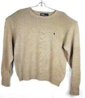 POLO by RALPH LAUREN Men XLarge Cotton Crew Neck Long Sleeve Sweater Beige Tan