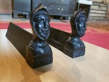 "Andirons Fire Dogs fireplace French Made 8"" tall cast iron Targaryen antique"
