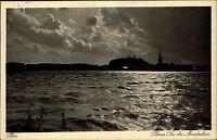 Plön Schleswig Holstein s/w Postkarte 1929 gelaufen Plöner See im Mondschein