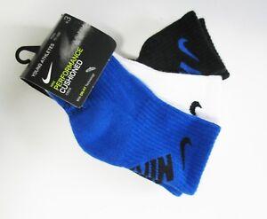Nike Boys 3 pack Performance Cushioned Crew Socks Multi Sz 4-5 - NWT