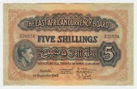 East Africa Banknote 5 Shilling 1943 P28 gVF King George VI Currency Note Lion