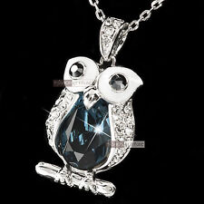 18k white gold gp made with SWAROVSKI crystal night owl pendant necklace