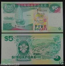 Singapore Banknote 5 Dollars Ship Edition UNC
